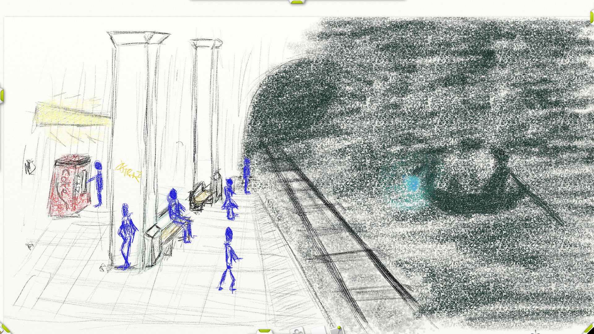 Styx: Moodboard / SzenenzeichnungStyx: moodboard / scene sketch